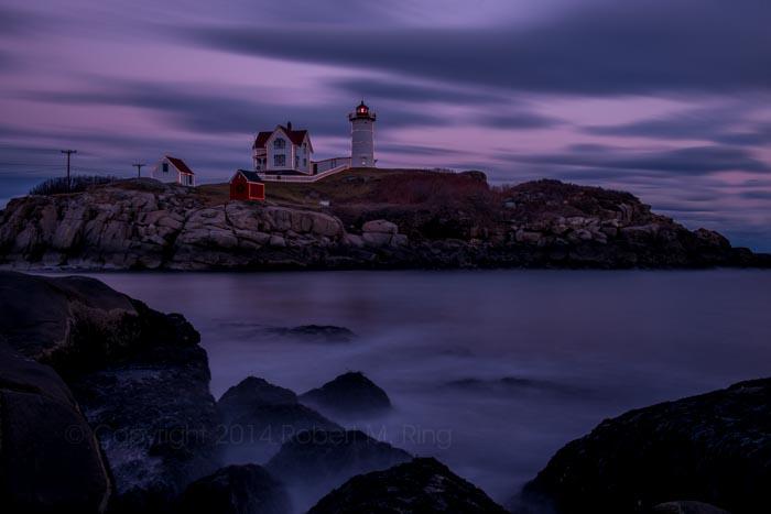 Nubble Light, lighthouse, New England, Maine, Sunset, Purple, Coast, photo