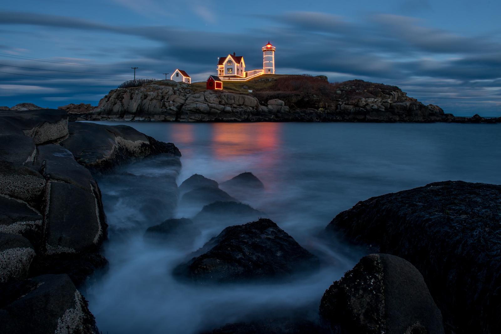 Nubble Light, Lighthouse, Maine, New England, Blue Hour, Coast, photo