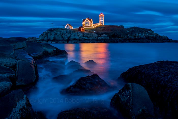 Fully into Blue Hour at Nubble Light along the coast of Maine.