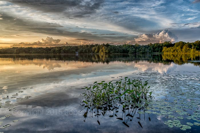 pond, new england, sunset, sky, clouds, photo