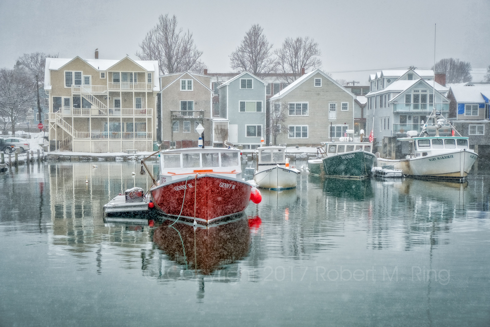 Cape Ann, Snow, new england, harbor, boats, lobster boats,