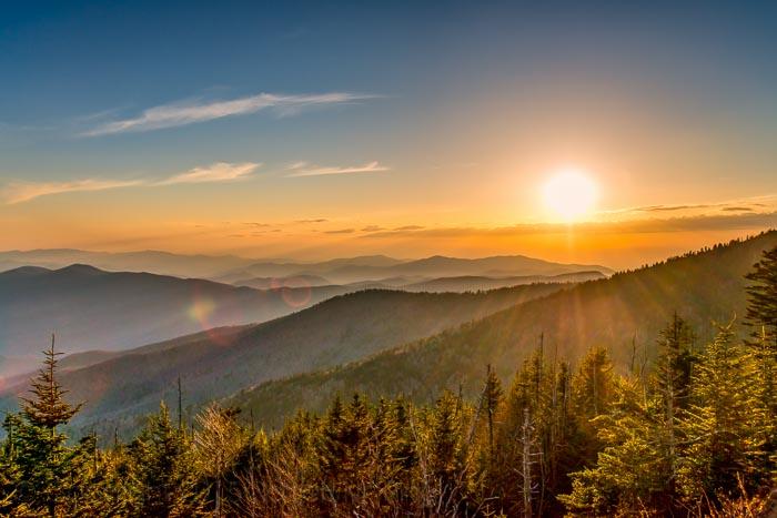 Smoky Mountains, sunset, clouds,, photo