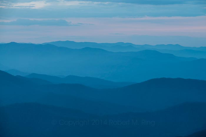 The Great Smoky Mountain National Park, mountains, sunrise, blue hour, photo