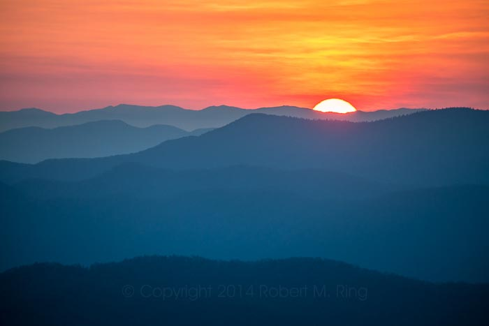 The sun just peeking over the mountains in the Great Smoky Mountains NP