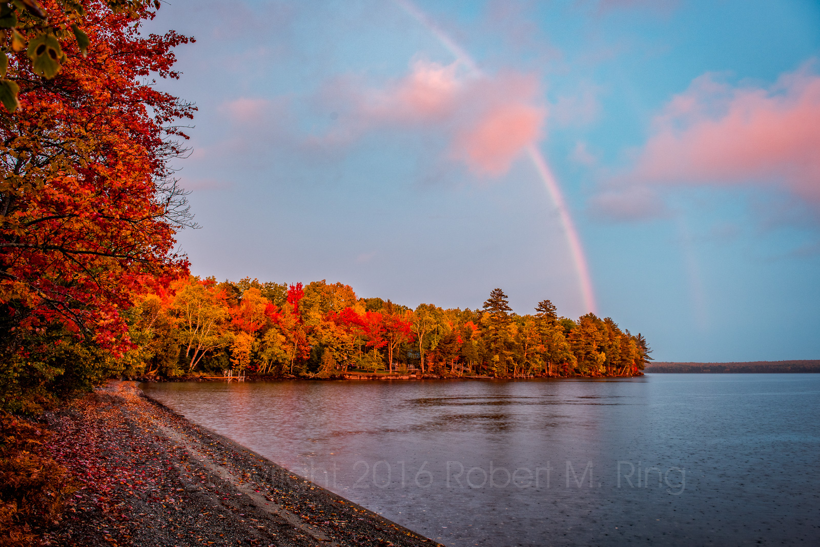 Camp, Schoodic lake, rainbow, maine, new england, weather, rain, photo