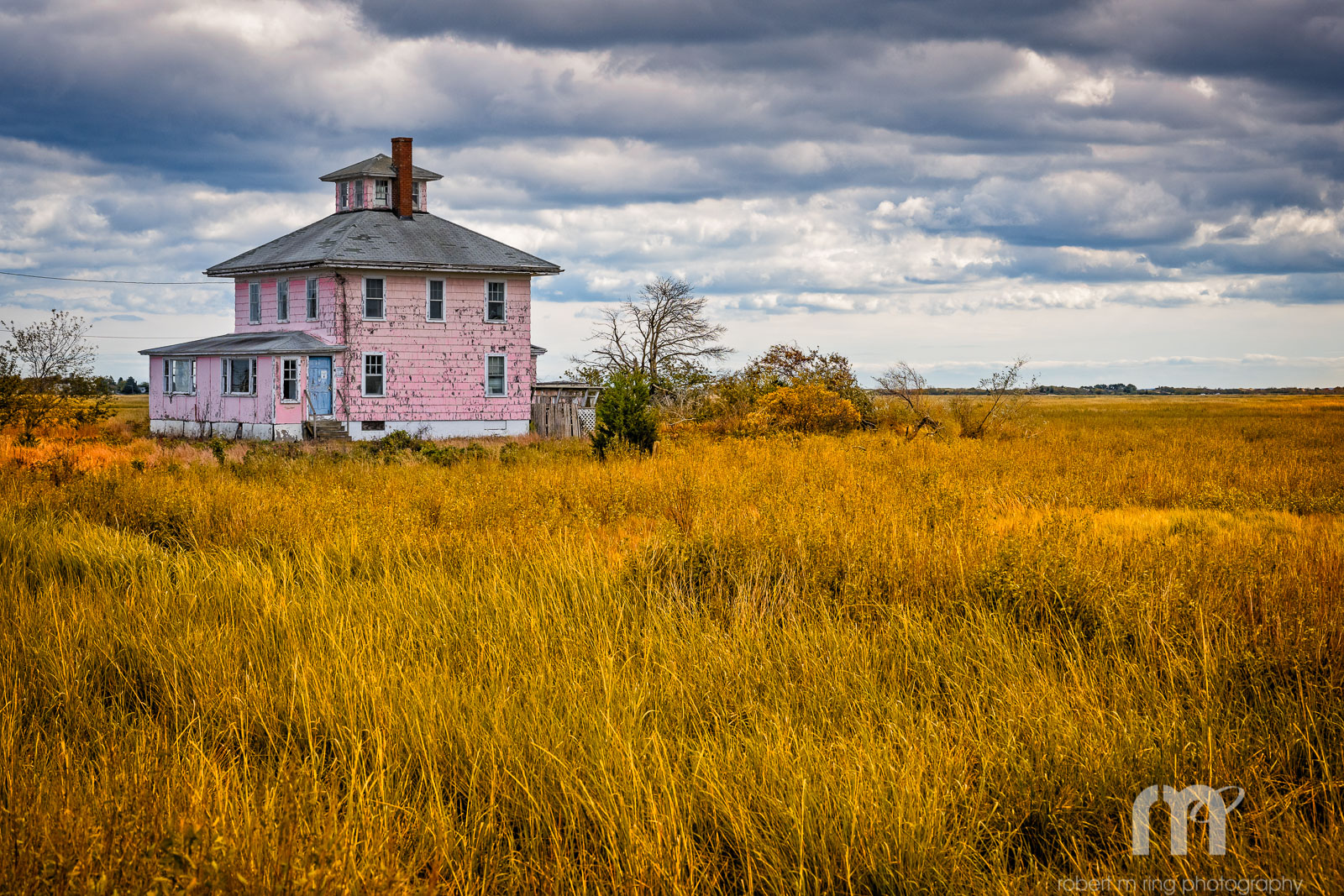 Pink House New England, Fall, Clouds, photo