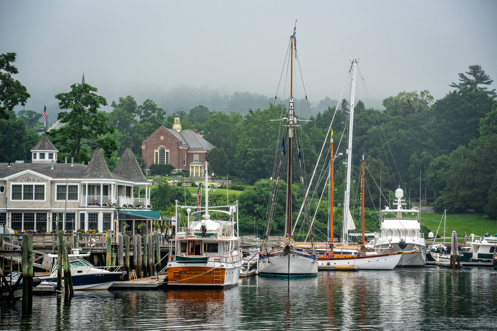 Morning fog and it's quite still at Camden, Maine's harbor.  Things will pick up as the fog starts to clear later in the...