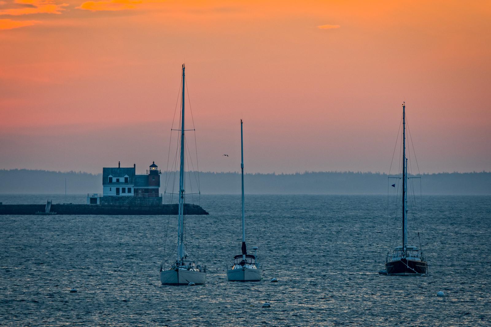 Maine, Rockland, harbor, lighthouse, light, sky, sunrise, mid coast