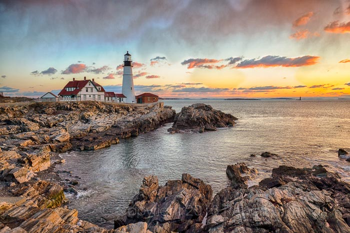 lighthouse, Portland Head lighthouse, clouds, photo