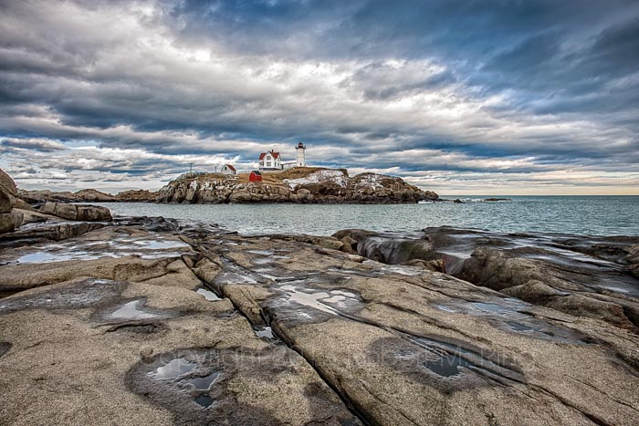 Puddles,Nubble Light, lighthouse, ocean, atlantic, new england, maine coast, scenic, clouds, sky, photo