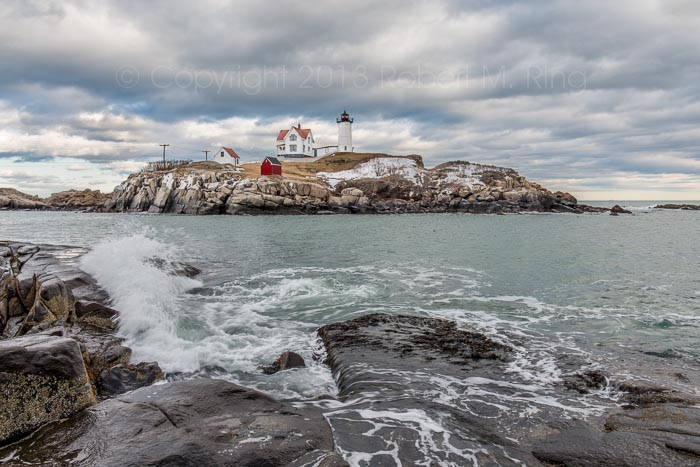 Waves, Nubble Light, new england, scenics, landscapes, ocean, clouds, sky, maine, nubble lighthouse, photo