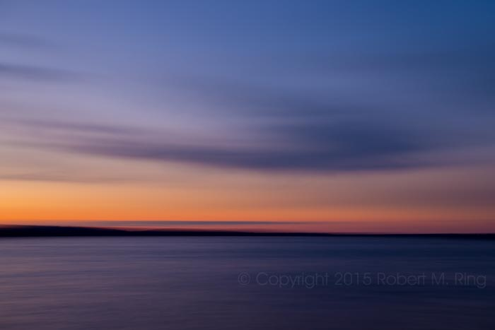 Before the sun rises over Schoodic Lake in central Maine