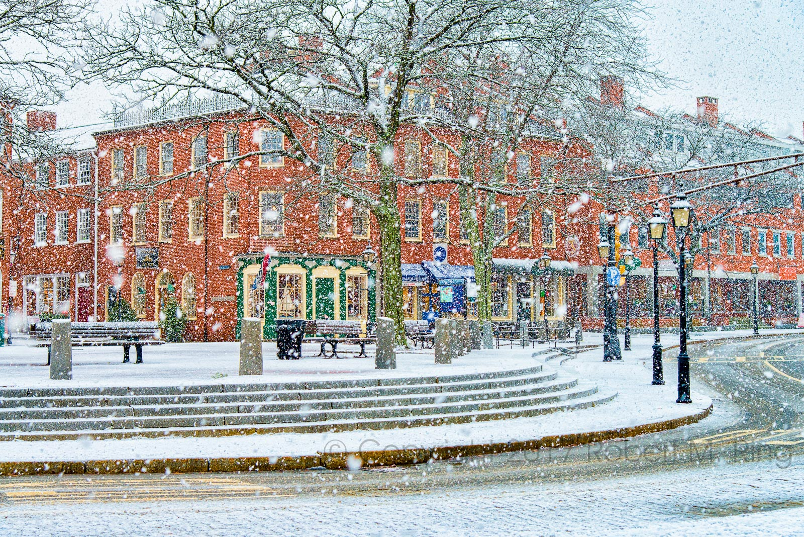 snow, new england, streets, square