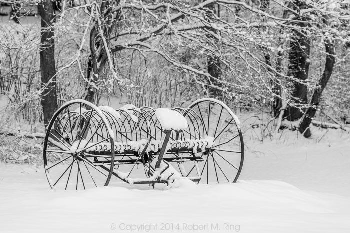 old, hay rake, New England, snow, winter, photo