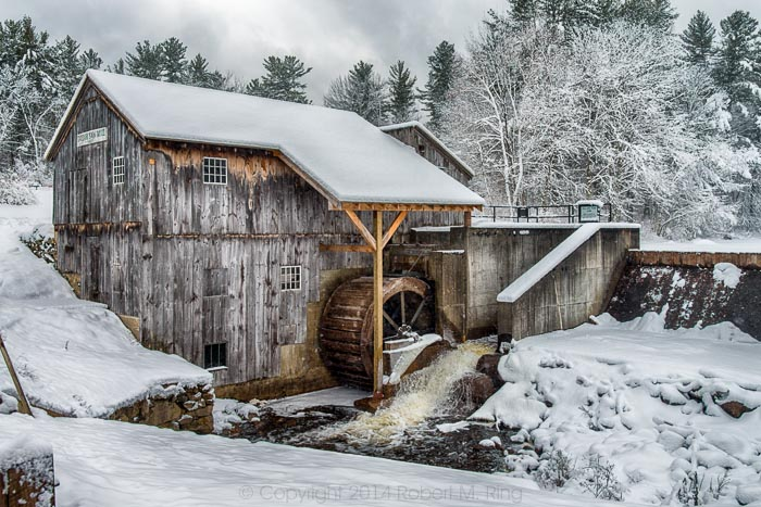 Taylor Saw Mill In Snow, Derry, NH, snow, snow scene, scenes, photograph, photo