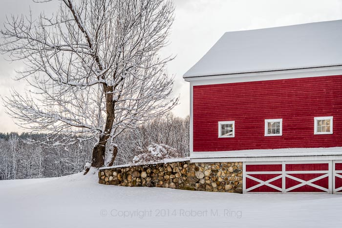 What can I say? I just love a nice New England red barn with snow.