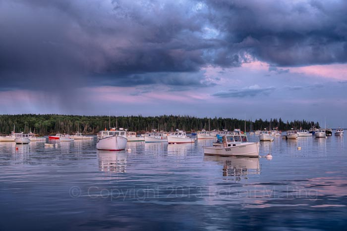 Owls Head, Harbor, Maine, coast, shore, rain, photo