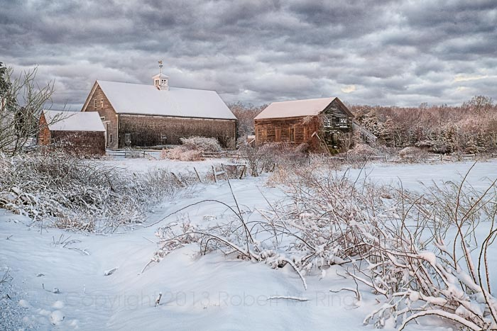 new england, barns, snow, scene, clouds, ma, newbury, ma, photo